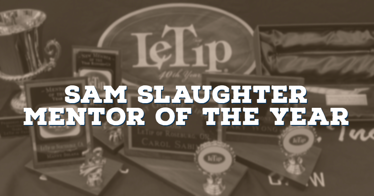 Sam Slaughter, Mentor of the Year